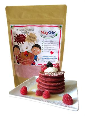 Organic Gourmet Pancake Mix with Beets and Quinoa in resealable packet